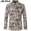 Осень мужчины рубашки мода бренд печатные тонкий подходят рубашки с длинным рукавом высокое качество хлопок Camisa Masculina Z1787-Euro