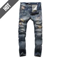 Patchwork Slim Fit Denim mannen Moto Biker Jeans Uomo Hot Koop Merk Designer Gescheurde Jeans Mannen Broek D704
