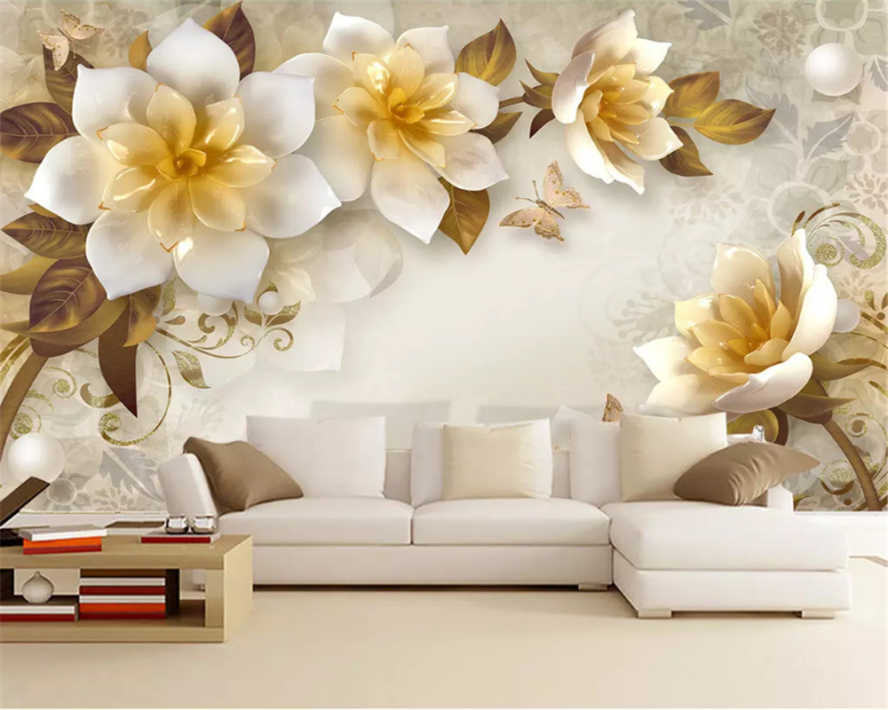 Beibehang 3d Wallpaper Custom Fashion 3D Embossed Magnolia Peacock Fresh European TV Background Papel De Parede Wall Paper