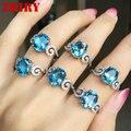 Mujeres natural topacio azul gemas anillo de plata de ley 925 El fuego colore gemas joyería de la Señora