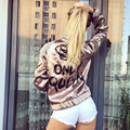 2017 fashion women's coats shine letter print bomber jacket queen solid long sleeve zipped bright basic coat ukraine