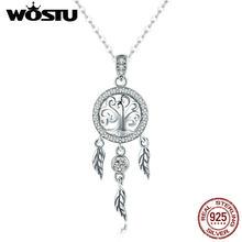 45ba4f440cc4 WOSTU Vintage de Plata de Ley 925 Árbol de la vida y Dreamcatcher colgante  de collar para las mujeres buena suerte regalo de joy.