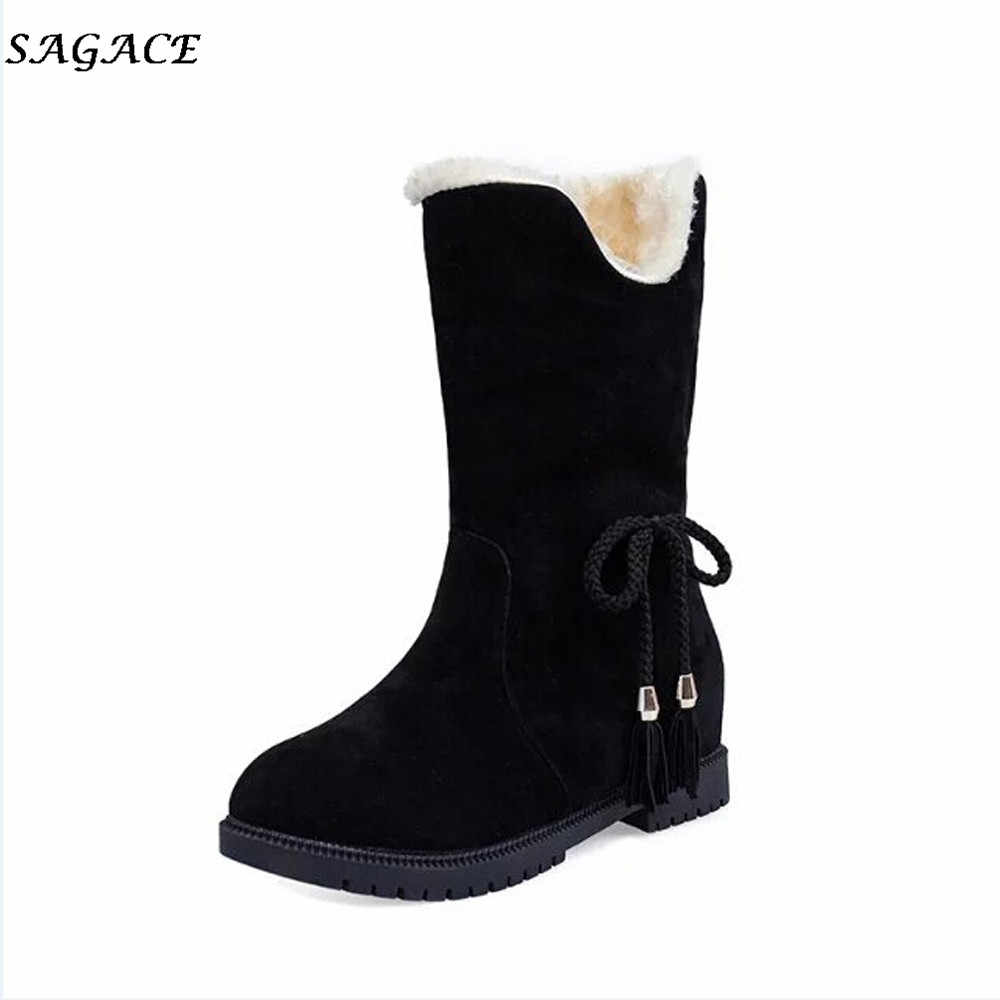 CAGACE Fashion shoes women 2018 warm snow boots heels winter boots new arrival Girls ankle boots women shoes