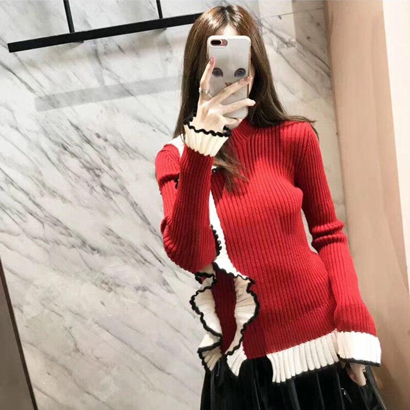 Красный свитер женский подиум 2018 новый стиль оборки вязаный свитер Джемперы тонкий пуловер элегантные топы