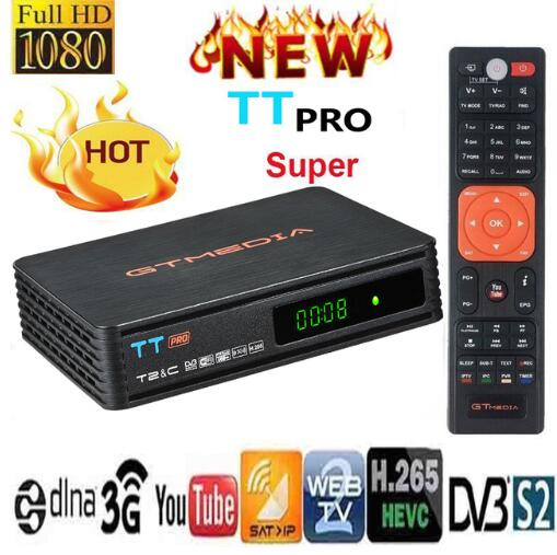 Hot DVB-T2 GTMEDIA TT PRO Satellite Receiver HD 1080P Europe Clines For 1 Year Spain With USB Wifi Dongle Power By V7 Hd V7s Hd
