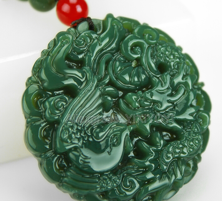 Beautiful Natural Green HeTian Jade Carved Chinese Dragon Phoenix Amulet Lucky Pendant + Free Necklace Certificate Fine JewelryBeautiful Natural Green HeTian Jade Carved Chinese Dragon Phoenix Amulet Lucky Pendant + Free Necklace Certificate Fine Jewelry
