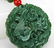 Beautiful Natural Green HeTian Jade Carved Chinese Dragon Phoenix Amulet Lucky Pendant + Free Necklace Certificate Fine Jewelry(China)