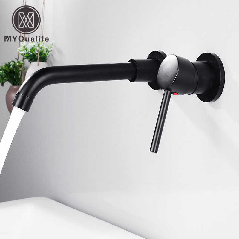 wall mounted matte black bathroom kitchen faucet one hole cold water washing tap rotate spout brass vanity sink crane
