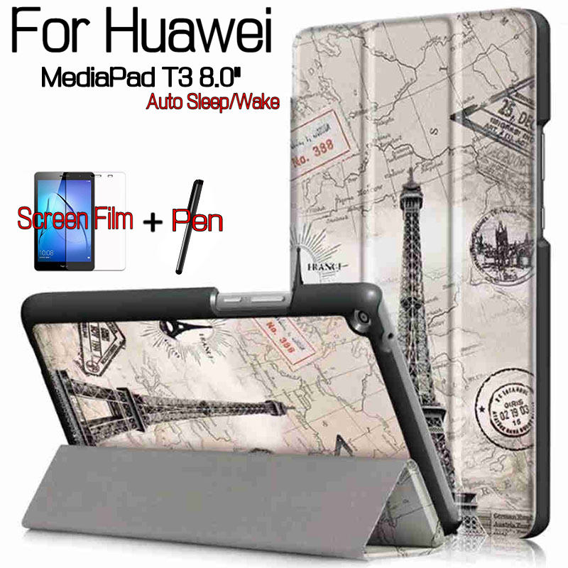 Colorful Magnetic Stand Flip PU Leather Cover Case for Huawei MediaPad T3 8.0 Honor Play Pad 2 Tablet+Free Screen Protector+Pen mediapad m3 lite 8 0 skin ultra slim cartoon stand pu leather case cover for huawei mediapad m3 lite 8 0 cpn w09 cpn al00 8