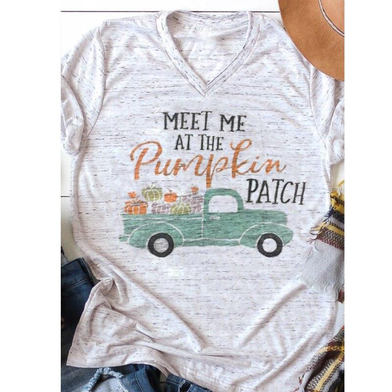 Camiseta de las mujeres letra me encuentran en la calabaza parche impreso graphic tees mujer camiseta de Halloween calabaza v-cuello