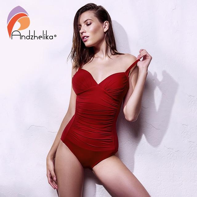 10818136d6b Andzhelika Plus Size Swimwear 2018 New One Piece Swimsuit Women Retro  Vintage Bathing Suits Beachwear Solid