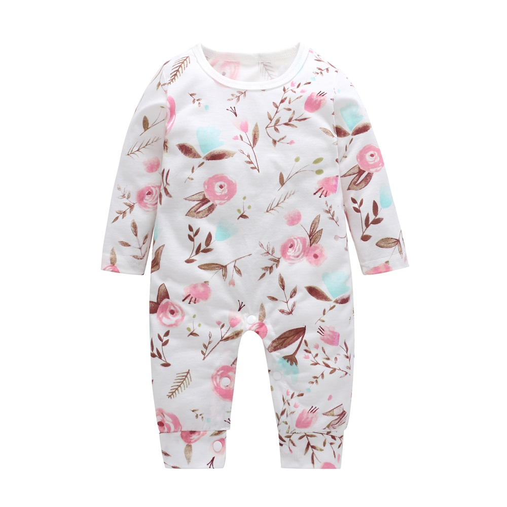 2018 New Newborn Baby Boys Girls Romper Floral Printed Long Sleeve Winter Cotton Romper Kid Jumpsuit Playsuit Outfits Clothing baby girls butterfly long sleeve romper newborn kids 2017 new arrival button jumpsuit outfits clothing for newborns age 3m 3y