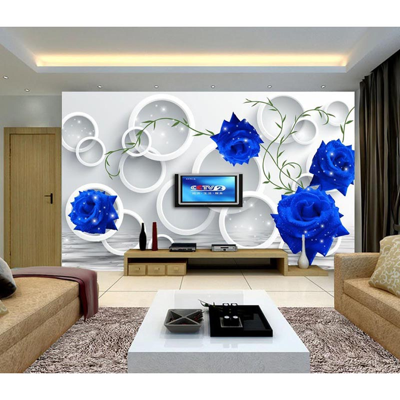 HD bleu Rose 3D personnalisé Photo papier peint fleurs grand mur Mural décor à la maison papier peint pour salon literie fond 204