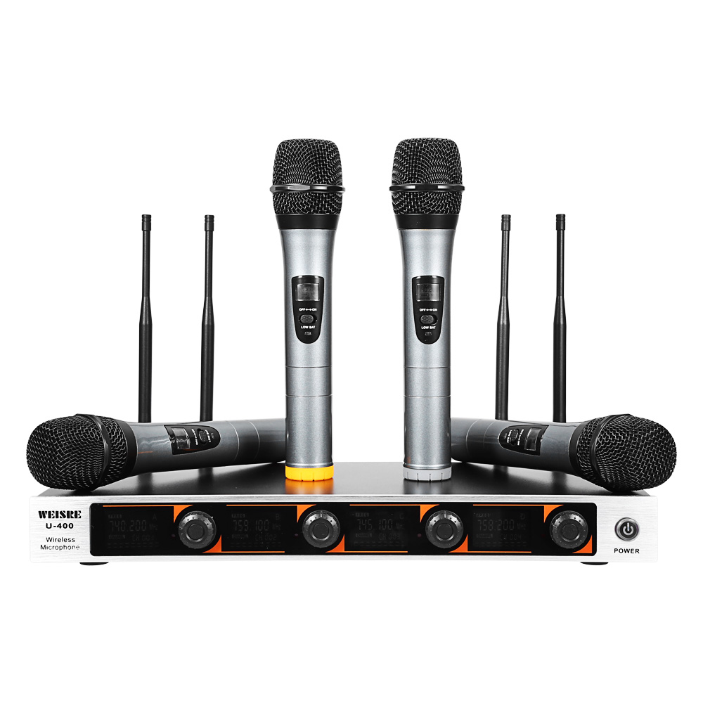 WEISRE U - 400 Professional Microphone 220 - 270MHz VHF Wireless Microphone Handheld 4-Channel Transmitter Mic Set For Karaoke