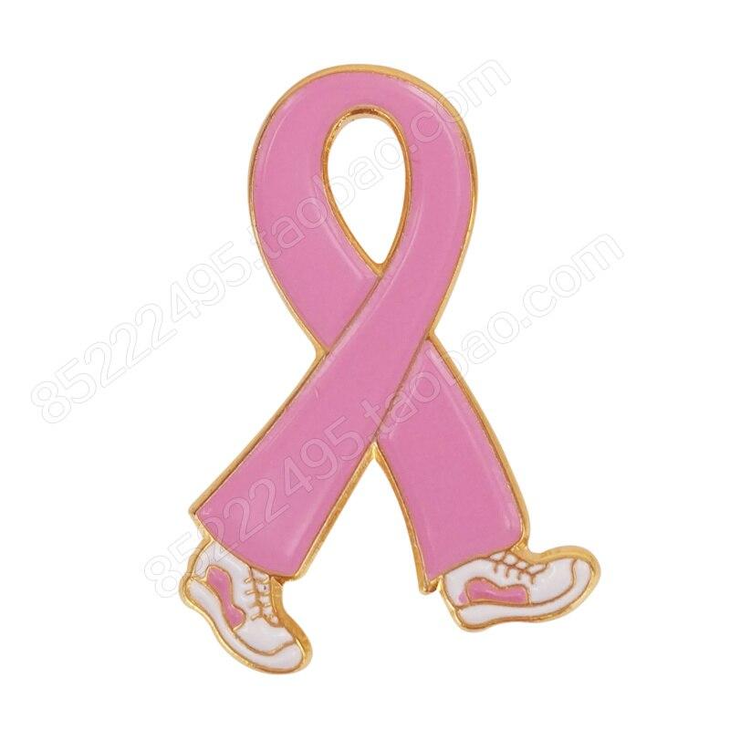Breast Cancer Awareness Walking Pink Ribbon Lapel Pins