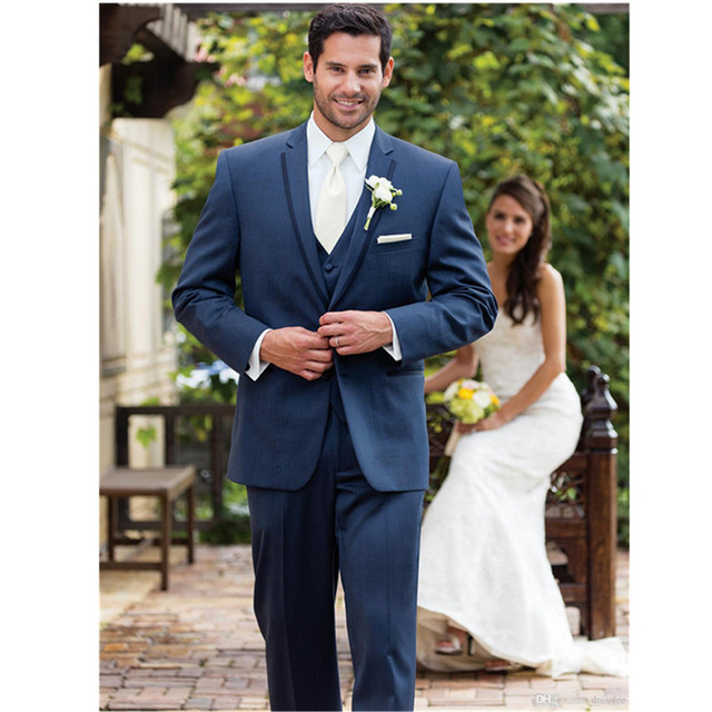 Custom Made Wear Navy Blue Suit Groom Tuxedos Grooms Men Mens ...