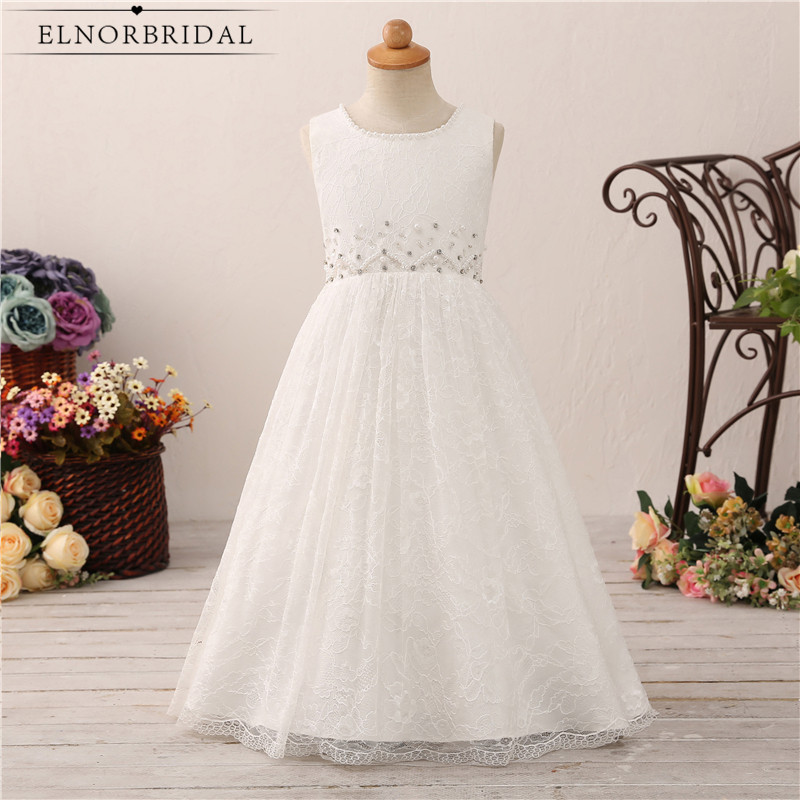 White/Ivory Lace Flower Girl Dresses Elegant 2018 A Line Vestido De Flores Kiz Cocuk Abiye Real Photo Communion Girls Dress