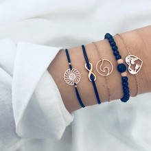 5 Pcs/ Set Punk Heart Map Wave Beads Round Flower Chain Leather Gold Multilayer Bracelet Set Women Exquisite Clothing Jewelry 5 pcs set punk turtle map heart letter love crystal beads chain multilayer gold bracelet bangle set charm women jewelry