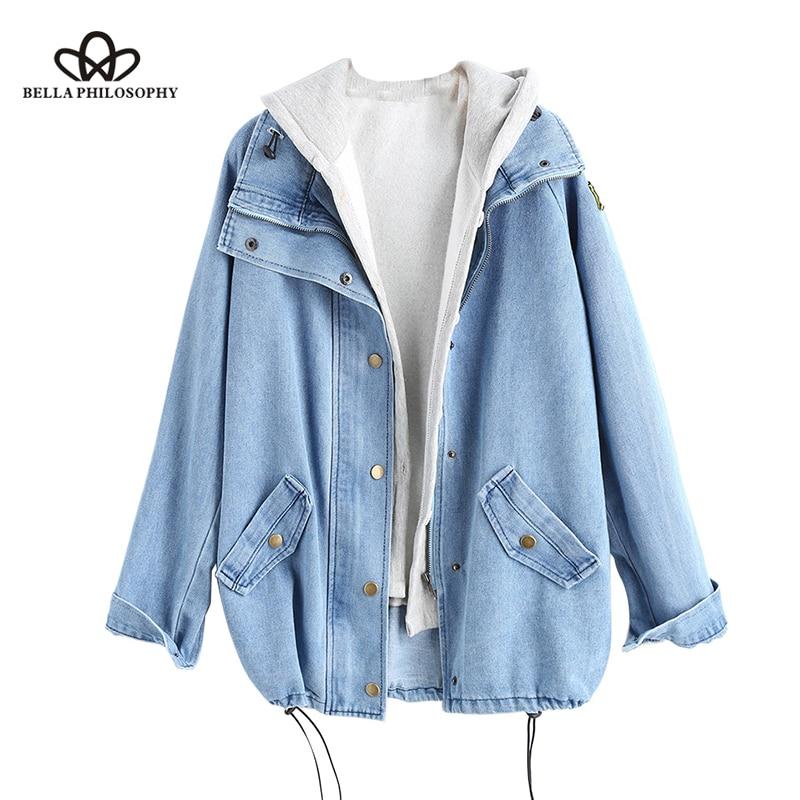 Bella Philosophy 2019 autumn winter Button Up Ladies Denim Women Jacket with Hooded 2 Piece 3XL Female Jean Plus Size Women Coat-in Jackets from Women's Clothing