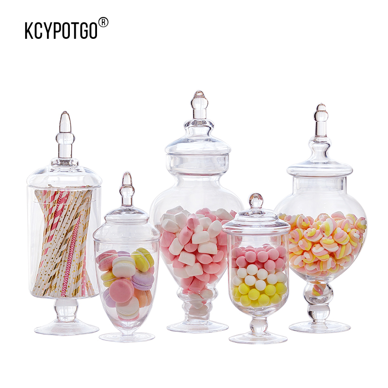 KCYPOTGO serbatoio di stoccaggio di stile Europeo/barattolo di caramelle di vetro Adatto per la casa e decorazione di nozze manufatti per l'arredamento (5 pz/set)
