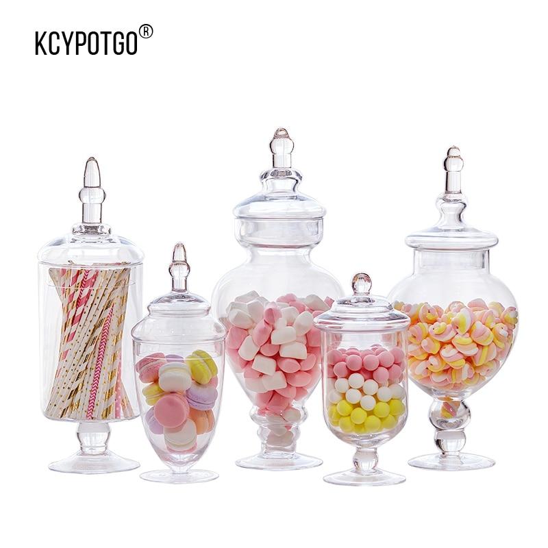 KCYPOTGO style Européen réservoir de stockage/pot à bonbons en verre Convient pour la maison et décoration de mariage articles d'ameublement (5 pcs/ensemble)