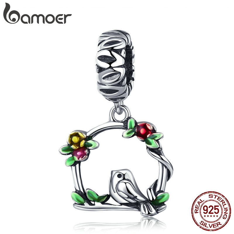 BAMOER New Arrival 100% 925 Sterling Silver Herald Of Spring Bird Cage Pendant Charm fit Women Bracelet DIY Jewelry Gift SCC645