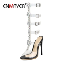 ENMAYER Sexy Ankle Strap  Extreme High Heels Sandals Women Shoes Summer Plus Size 34-44 Party Casual Shoes PU Buckle strap CR171 morazora large size 34 46 summer shoes buckle solid fashion high heels shoes party pu platform shoes women sandals