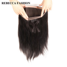 Rebecca 360 Lace Frontal Closure With Baby Hair Remy Peruvian Hair Straight 360 Lace Frontal 100% Human Hair Free Shipping(China)