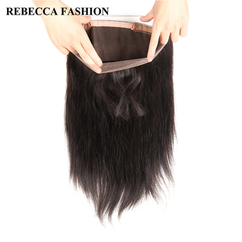 Rebecca 360 Lace Frontal Closure With Baby Hair Remy Peruvian Hair Straight 360 Lace Frontal 100% Human Hair Free Shipping