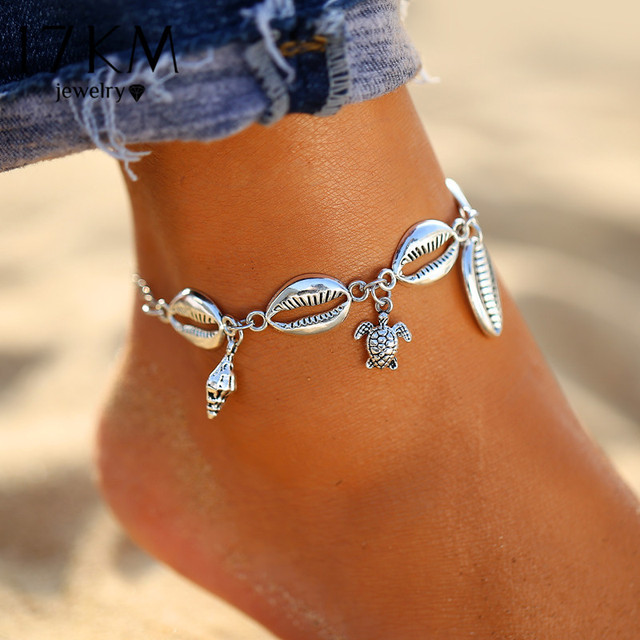 17KM New Silver Color Turtle Shell Anklets For Women Bohemian Anklet Bracelets On The Leg Female Foot Jewelry 2019 Drop Shipping