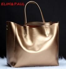 ELIM & PAUL Frauen Echtem Leder Handtaschen Große Einkaufstasche Hohe Qualität Ledertaschen Frauen Silber Blau Damen Schulter Hand taschen