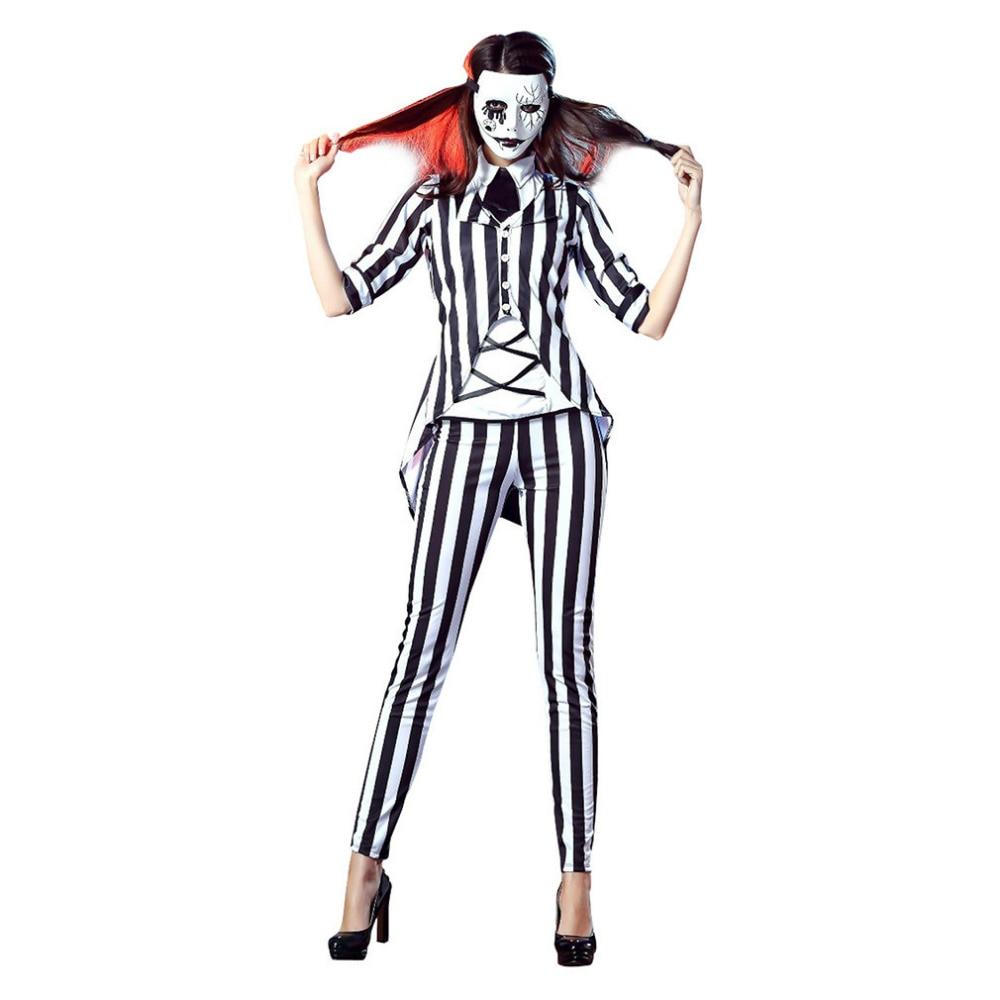 Vocole Adult Women Halloween Horror Graveyard Ghost Costume Beetlejuice Role Cosplay Fancy Dress Premium Deal October 2019