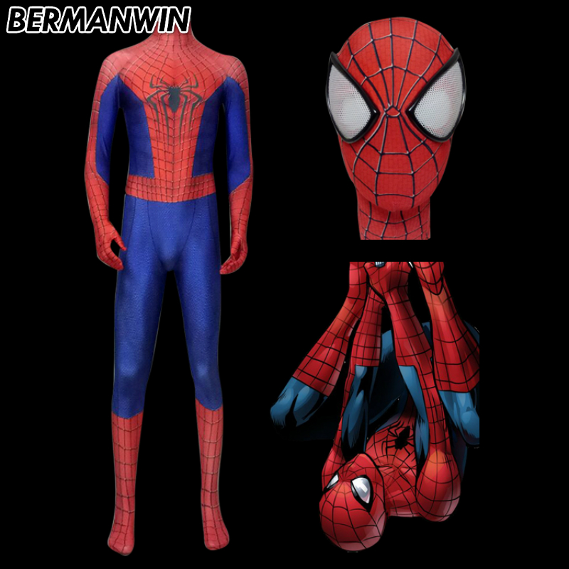 BERMANWIN High Quality Classic Amazing Spiderman Suit 3D Print Movie Amazing Spiderman Costume Adult Men Red Spiderman Cosplay