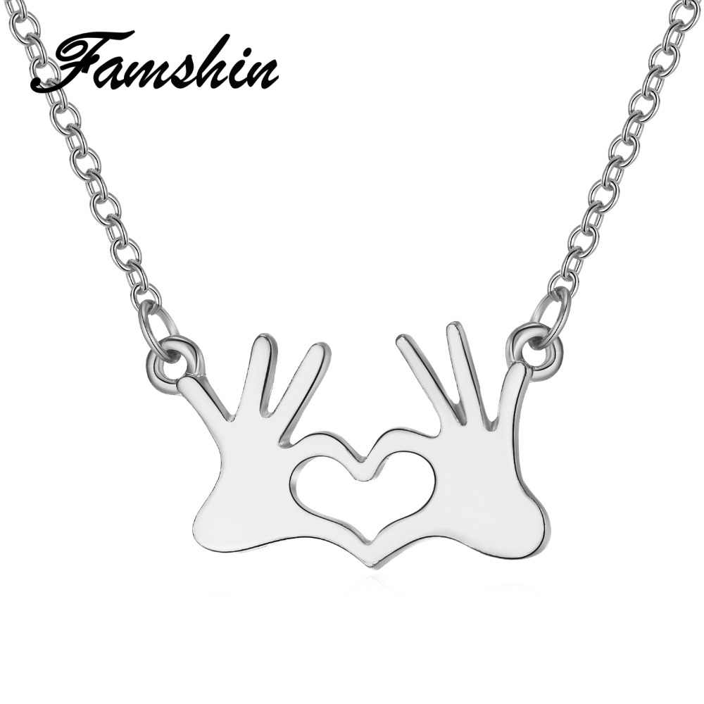 FAMSHIN Fashion Stainless Steel Jewelry Hand Chain Double Love Heart Necklaces Pendants gold for Women Statement Necklace 2018
