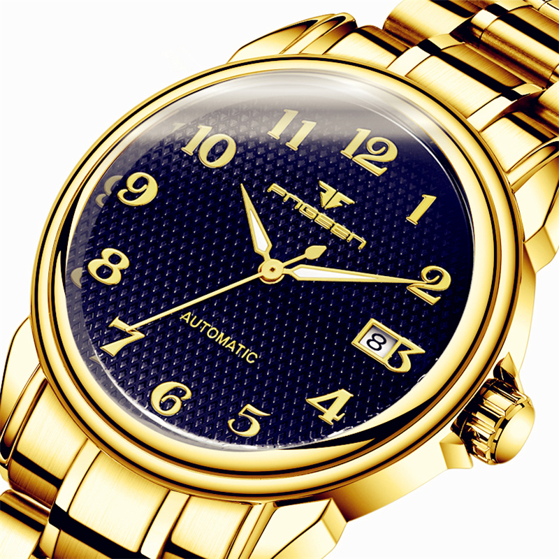 Classic Mens Watch Automatic Mechanical Clock Males Gold Stainless Steel Watchband Numeral Time Hour Man Wrist Watches BrandClassic Mens Watch Automatic Mechanical Clock Males Gold Stainless Steel Watchband Numeral Time Hour Man Wrist Watches Brand