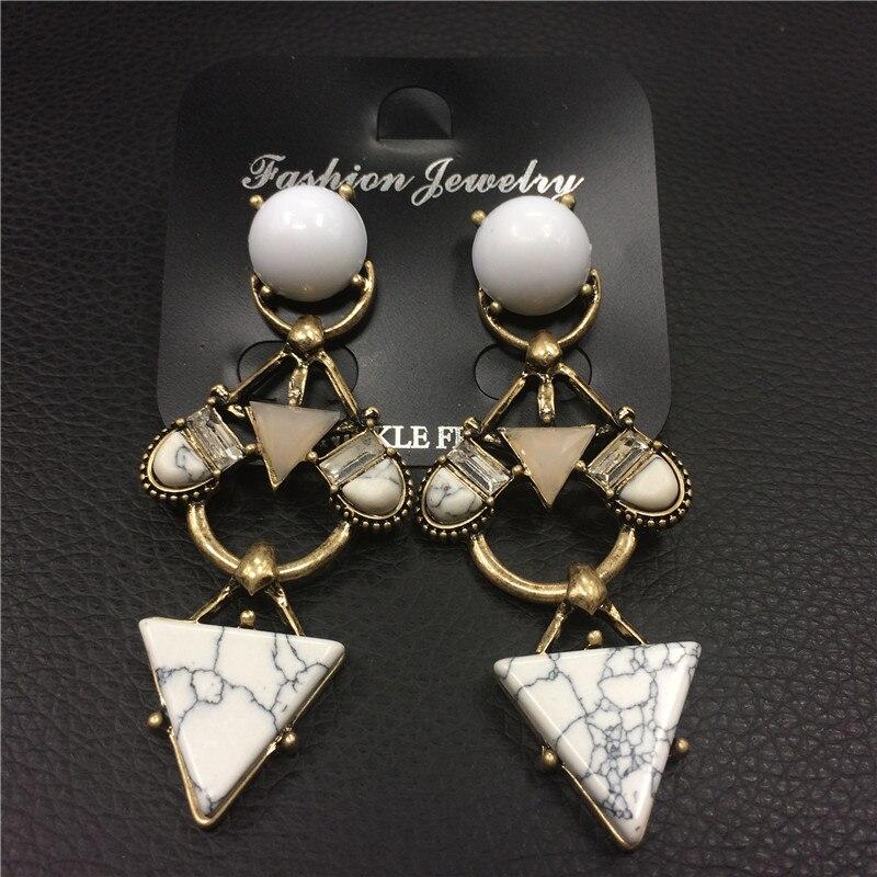 New popular Vintage Faux Marbled Stone gem Earrings For Women Fashion Jewelry Geometric triangle tassel Earrings