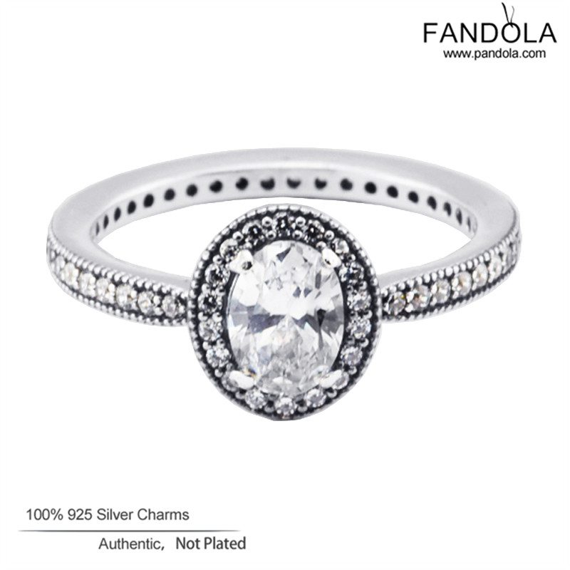 100 925 Sterling Silver Jewelry Clear CZ Vintage Elegance Silver Wedding Rings for Women Pandulaso Jewelry