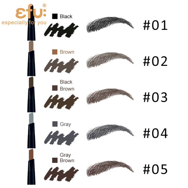 5 Colors 24 Hours Long-lasting Eyebrow Pencil Soft And Smooth Fashion Eye 0.4g Lotus Series Makeup Brand EFU #7046-7050 5