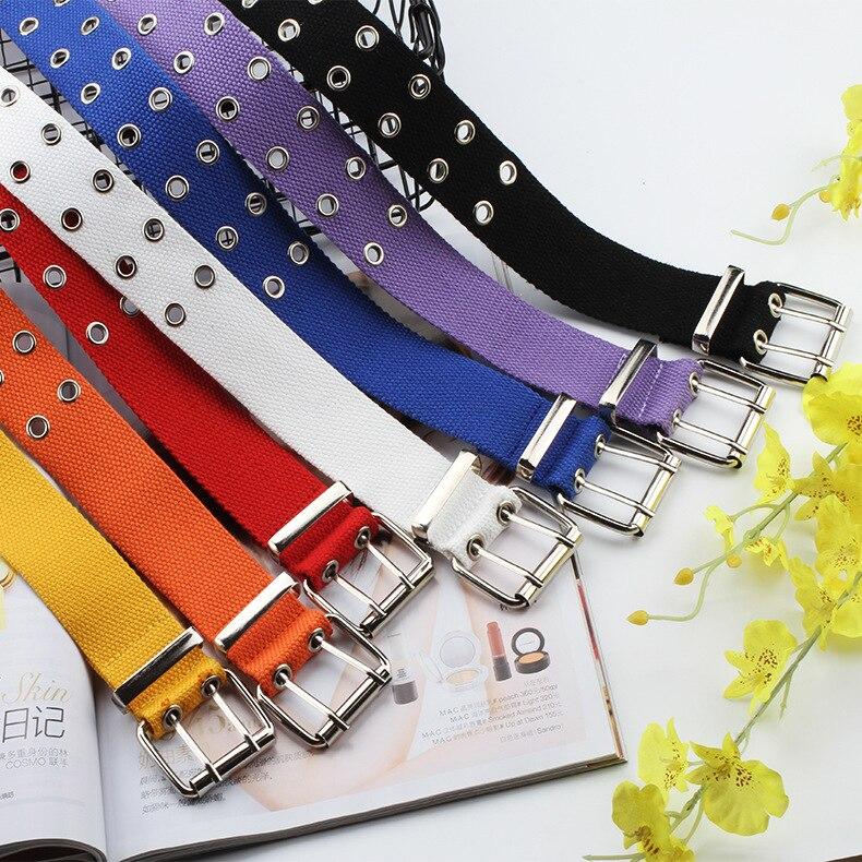 2019 New Designer Harajuku Wide Canvas Web Double Grommet Hole Buckle Belt Female Male Waist Strap Belts For Women Men Jeans