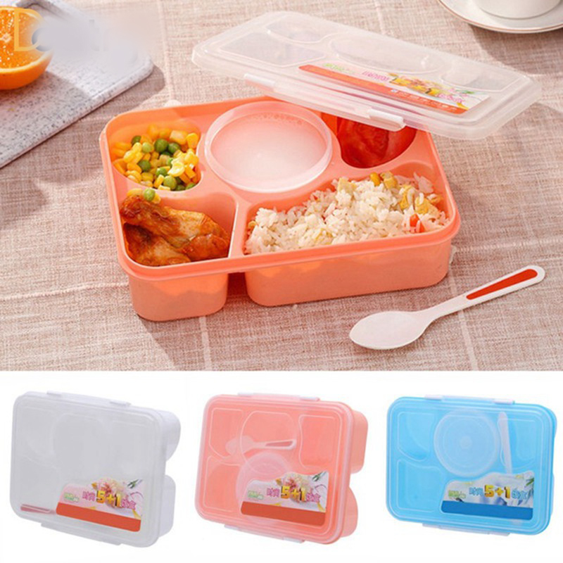 Container Store Lunch Box: 1170ml Portable Microwavable Bento Lunch Box With Spoon