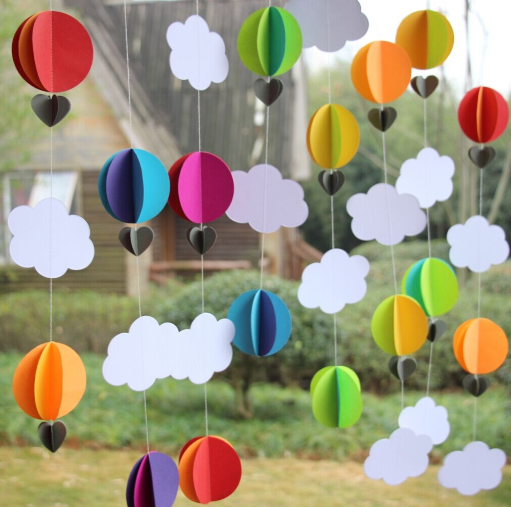 5pcs Rainbow Color Paper Garland / 3D Hot Air Balloon Decoration ...