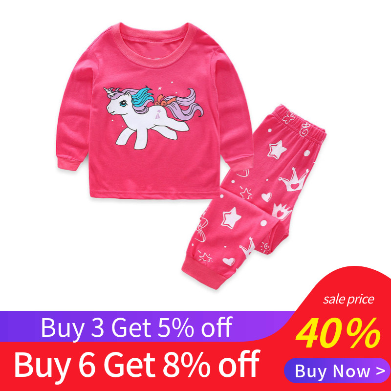 Saileroad 2 7 Years Girls Unicorn Pajamas Sets Baby Girl Long Sleeved Sleepwear Suits Children Clothing Kids Clothes For Autumn