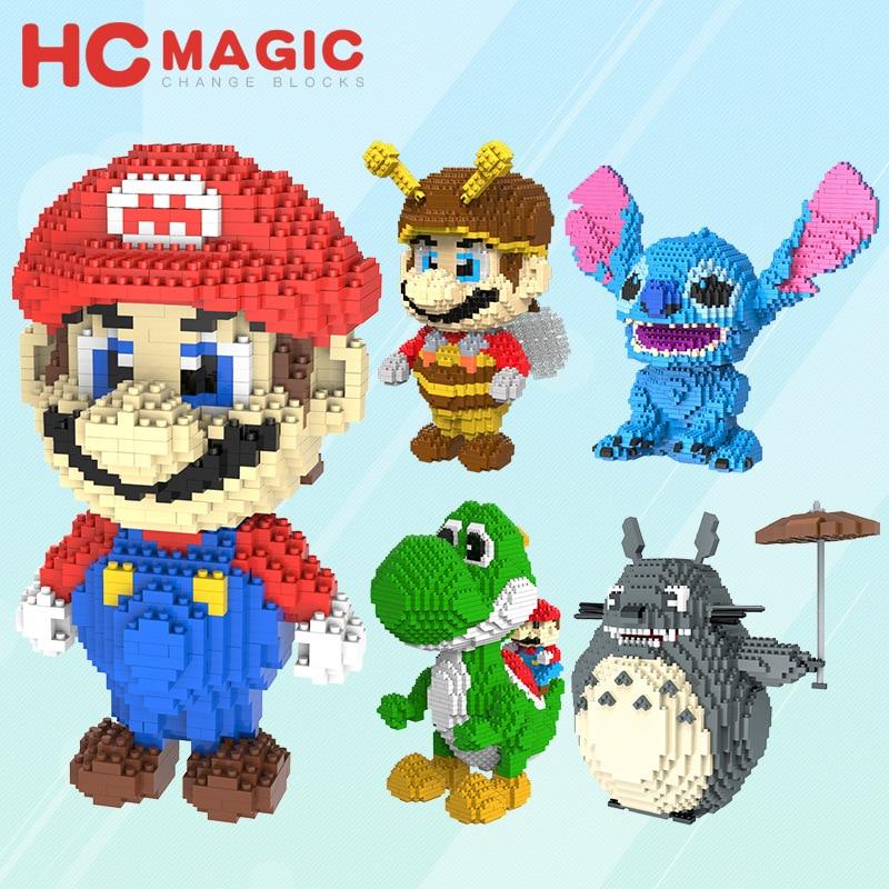 HC 9003 9004 9005 9007 9009 Pikachu Super Mario Yoshi Totoro Donald Duck Fortune Cat Stitch Diamonds Building Blocks Toys LOZ exterm hc 9004