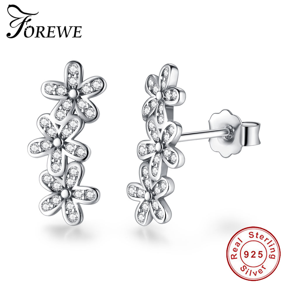 FOREWE New Fashion 925 Sterling Sliver Earrings Clear CZ Daisy Flower Stud Earrings for Women Bijoux Wedding Jewelry Brincos