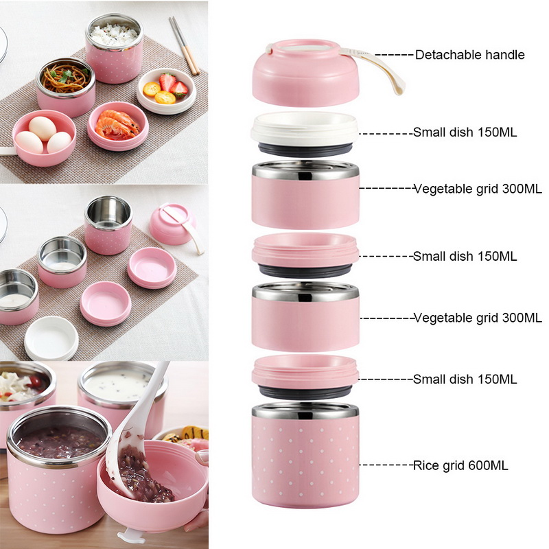 Urijk Lunch-Box Food-Container Stainless-Steel Kids Leak-Proof Cute Camping Multilayer