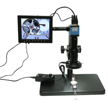 On sale Microscope industrial camera hd 2.0 MP camera high-speed 30 frames VGA output+180X C-mount Lens+stents+LED Light+8 inch screen