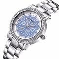 Relógios das mulheres Relógio Marca de Senhoras de aço Moda de Luxo Espumante Cristal Rhinestone Reloj Relógio relógios de Quartzo relógio de Pulso CRRJU