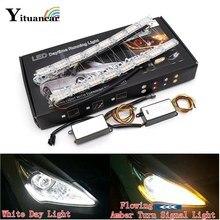 Yituancar 2X Car Flexible White/Amber LED Daytime Running Strip Light Turn Signal Flowing Water Drops Steering DRL Bar Headlight
