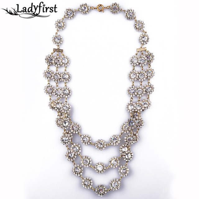 New Women Fashion Simple ClainZA Brand Multi-layer Crystal Collar Fashion Shourouk Luxury Bijoux Jewelry B351