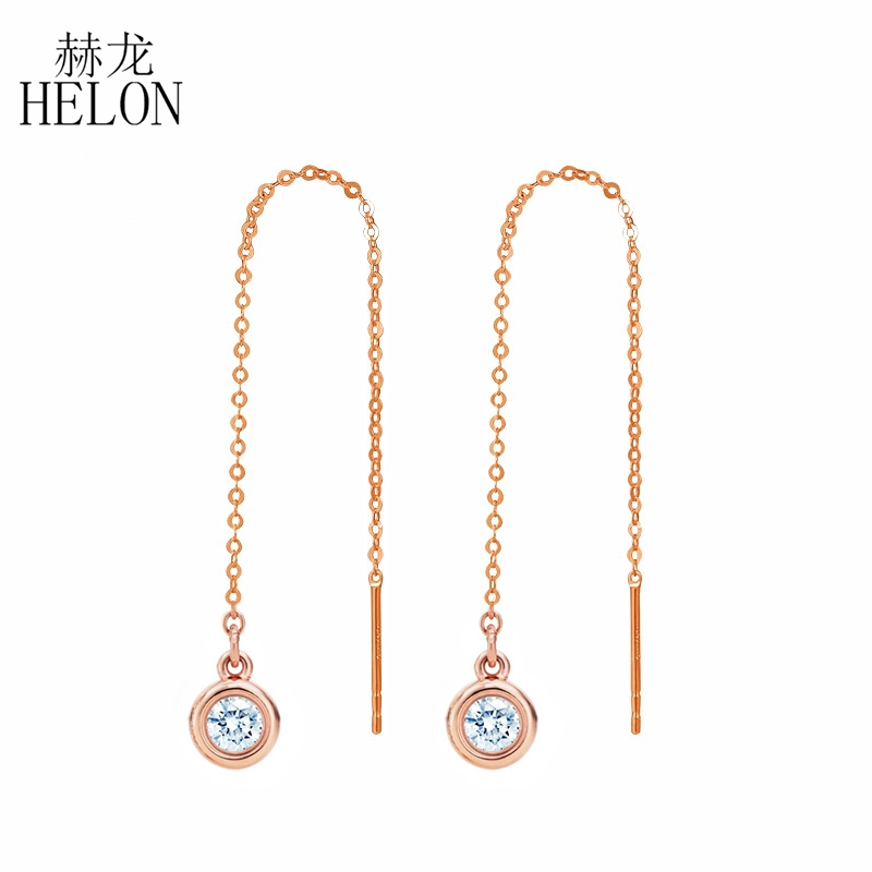 HELON Solid 18K Rose Gold 3mm Round 0.2CT Carat Lab Grown Moissanites Diamond Earrings for Women Wedding Engagement Birthday real 18k rose gold 1 2 carat ct def color lab grown moissanite diamond pendant necklace chain for women charm jewelry